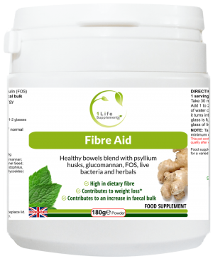 Fibre Aid, Fibre & Full, CONSTIfree, laxative, constipation, psyllium husks, sugar beet fibre, colon cleanser, colon cleaner, bloating, prebiotics, dietary fibre, detox, probiotics, L-Glutamine, regularity, bowel health, bloating, Irritable Bowel Syndrome, IBS, colitis, Crohn's disease, FOS, Fructo-Oligosaccharides, glucomannan, stevia leaf, Lactobacillus acidophilus, Bifidobacterium bifidum, fennel seed, ginger root, peppermint leaf, inulin, efsa