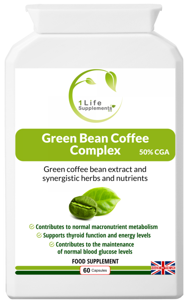 Green Bean Coffee Complex, green coffee, chlorogenic acid, CGA, kelp, cinnamon, cayenne, chromium picolinate, weight loss, slimming, fat burn, fat loss, thermogenic, extracts, dr oz, blood sugar levels, insulin, cellulite